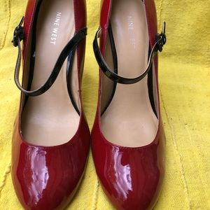 Nine West Red and Black  Mary Jane Pumps